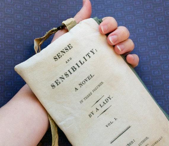 Sense and Sensibility Clutch Wristlet - Limited Edition BritLit Pouch - Jane Austen - Lined Zip Zipper Purse Handmade in USA literature