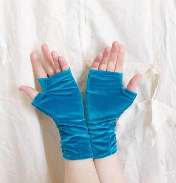 Raw Turquoise - Lush Velvet Hand Warmers / Fingerless Gloves - Handmade in Kansas, USA - Moth & Rust Designs