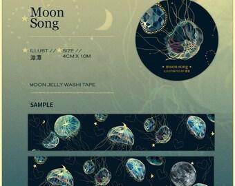 Moon Jelly Washi Sampler, Jellyfish Washi Sample, Moon Song, Lunar, Moon Masking Tape, Original Illustration Deco Tape