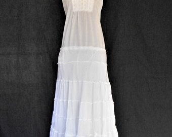 White Boho Hippie Dress, White Beach Boho Dress, Beach Boho Wedding Dress, Simple White Dress, Casual Wedding dress,
