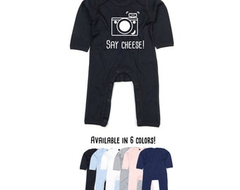 Baby camera bodysuit, say cheese bodysuit, photography romper, retro camera bodysuit, smile bodysuit, photographer bodysuit, baby shower