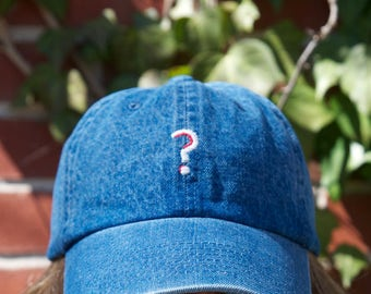 Denim Dad Hat with Hand Embroidered Question Mark
