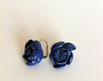 Blue porcelain handmade earrings