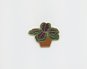 Marantus Pot Plant Dark Leaf Enamel Pin
