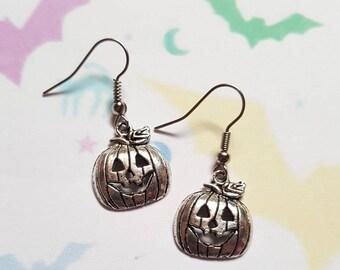 Pumpkin earrings, Halloween earrings, Alternative jewellery, Punk jewellery, Dangle earrings, Halloween, Pumpkin, Horror, Gothic