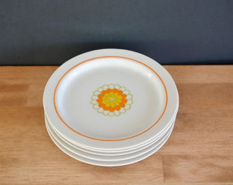Retro plates, midcentury, mod, fine china, florette, georges briard, appetizer, dessert, bread and butter, set of five