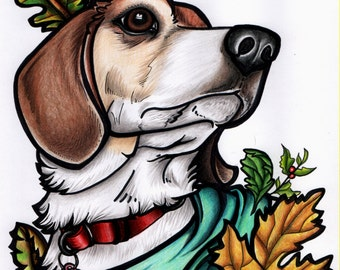 Custom Stylized Color Cat/Dog/Pet Portrait in Colored Pencil Personalized New School Old School Tattoo Style Bright Colorful