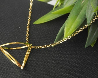 Triple Gold Plated Triangle Necklace - Gold Plated Necklace 45cm (17.5) - Geometric Necklace - Geometric Jewelry - Dainty Necklace - Gift