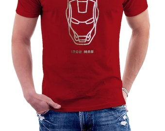 IRON MAN METAL - Red T-shirt dark with metal effect metallic for fans of Ironman - Tshirt man • 027