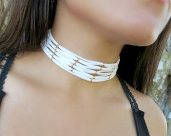 White Layered Choker, Choker Necklace, Suede Leather Choker, Boho Thick Choker, Multi Layer Choker, Net Choker Necklace, Women Trendy Choker