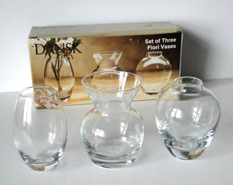 Set of Three, Fiori Vases, Glass Vase, Set, Vintage, Home Decor