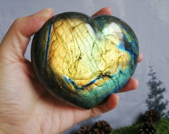Top Quality Large Natural Labradorite  Spectrolite Heart with Great Golden Flash!