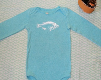 Baby Fish Long Sleeve Onesie-Light Blue: 24 months