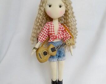 "Doll Cloth Art Doll ""Cowboy"" OOAK collection doll Interior Doll"