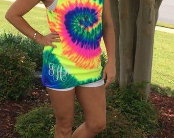 Neon Tie Dye Tank Womens S M L XL Beach Cover Up Bachelorette Party Shirt Top
