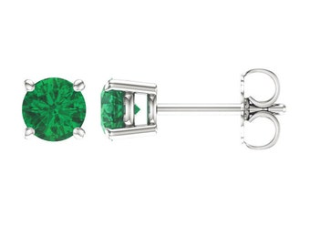 14K Gold Emerald Earrings / Emerald Gold Earrings Studs / Solid White Gold