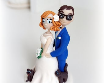 Wedding Cake Topper Personalized figurines bride and groom Cute couple Handmade flap-eared Cats
