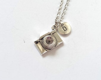 Antique Silver Camera Necklace, Camera Pendant, Photographers Necklace, Camera Jewelry, Personalize Necklace, Initial Necklace (P16)