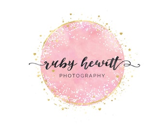 Confetti Circle Logo, Premade Photography Logo and Watermark, Pink Gold Watercolor Logo, Custom Logo Design, Boutique Logo Business Branding
