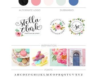 Premade Branding Kit, Custom Logo Design, Feminine Branding Package Floral Logo Watercolor Flowers Blog Logo Kit Boutique Logo Marketing Kit