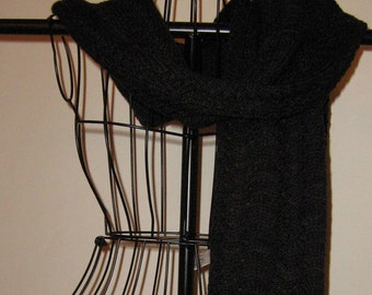 Black Onyx Extra Long Hand Knit Merino Scarf