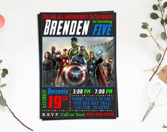 Avengers Invitation, Avengers Birthday invitation, Avengers Party, Avengers invite, the avengers, Avengers Age of Ultron, Avengers theme