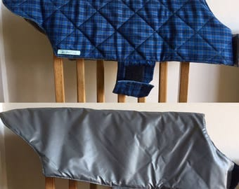Waterproof dog coat, reversible dog coat, quilted warm dog coat, large dog coat, Blue dog coat