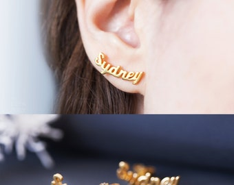 Custom Name Earrings -Personalized Earrings -Stud Name Earrings -Custom Earrings -Pair of Earrings -Gold Earrings -Silver Earrings