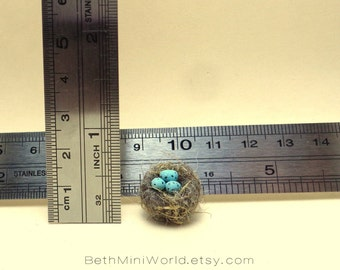 Dollhouse Miniature- Nest with blue eggs- Mixed media- OOAK-Ready to Ship