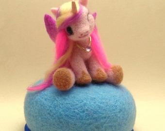My Little Pony- Princess Cadance Miniature Sculpture- Needle felted-Cute Alicorn-Winged Unicorn- OOAK- Ready to Ship