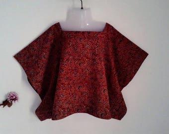 NEW!! Minimalist mini short Kaftan/Hand block/Ajrakh print/India/Boheme/Tunic/Free size/Boho/terracotta/blouse/cotton/Made in India