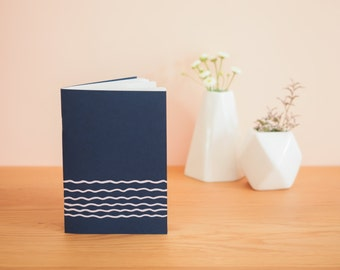 Waves - Navy Blue notebook