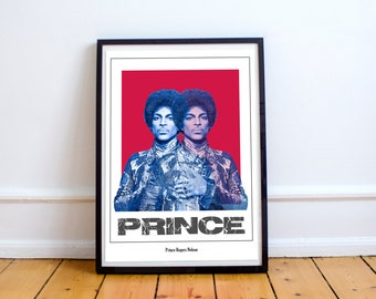 Prince portrait print, Prince printable, Prince poster, pop art, culture, star, music celebrity, Purple Rain, Prince Rogers Nelson