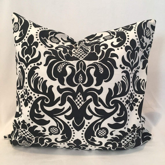 "22"" black and white damask"