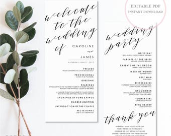 Wedding Program Template. Instant Download Wedding Programs. Wedding Programs. Wedding Program Template Download. Rustic Programs. (SH)