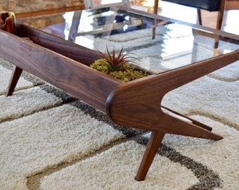 Mid Century Modern carved coffee table inspired by Ico Parisi
