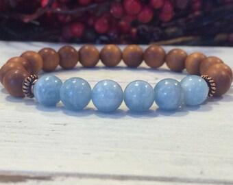 Aromatic Sandalwood & Aquamarine Bracelet, Wrist Mala Healing Bracelet - Stress Relief, Meditation, Calming, Authentic Communication, Truth