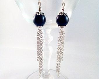 "Silver earrings ""Black Pearl in chains"""