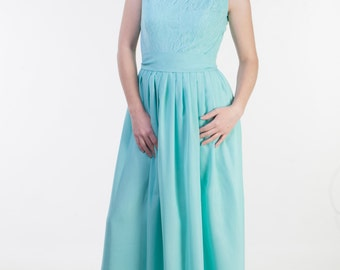 Pastel green bridesmaid dress Fully lined top bridesmaid dress Modest bridesmaid dress long Lace pastel green dress bridesmaid
