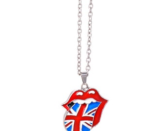 The Rolling Stones Union Jack Tongue Necklace