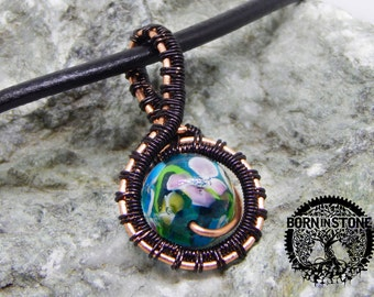 Wire wrapped pendant Copper pendant Steampunk pendant Wire weave Wire wrap pendant Glass pendant Magic pendant Flower bead Best gift For her