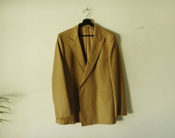 On Sale. Yves Saint Laurent Camel Coat, 1980s Double breasted, wool jacket.