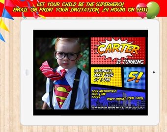 superhero invitation, superhero birthday invitation, superman invitation, avengers