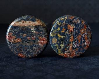 "Leopard Skin Jasper Stone Plugs (1/2"" - 1 3/4"")"