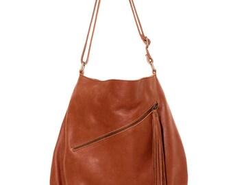 Red leather bag, leather shoulder bag, leather crossbody bag, leather messenger bag, leather tote bag, bucket bag, red boho bag, big bag red