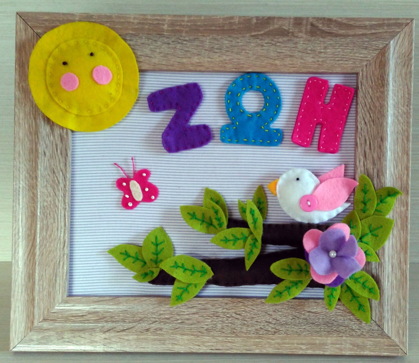 Baby Handmade Frame, Baby Girl Gift,baby Shower Girl, Wall Decoration,  Nursery Wall Art, Frame Decorated With Felt, Hanging Decoration,