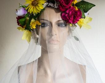 Summer Goddess Flower and Bird Wedding / Festival Wreath