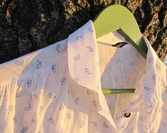 Vintage floral print linen shirt