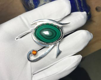 Silver Eye of Ra pendant with malachite and citrine