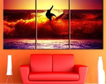 Surfing, Sunset, Wave surfing, Surfing art, Surfing print, Surfer wall art, Surfing canvas, Surfing poster,  Surfing canvas print, Sea wave
